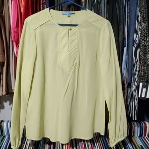 Antonio Melani Citrus Green SILK Blouse M